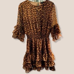 Fate Ruffled animal print mini dress Small